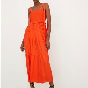 Zara orange ruffle tier maxi dress